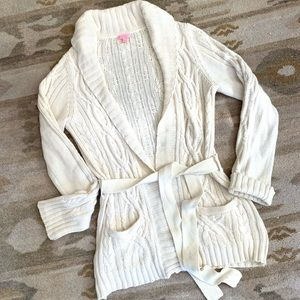 Lilly Pulitzer Cream Cable Knit Cardigan Sweater